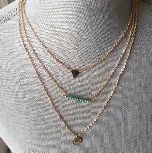 NWT Aquamarine Layered Necklace